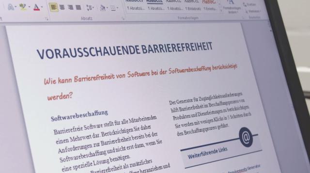 Foto eines auf dem Bildschirm angezeigten digitalen Dokuments zum Thema Vorausschauende Barrierefreiheit